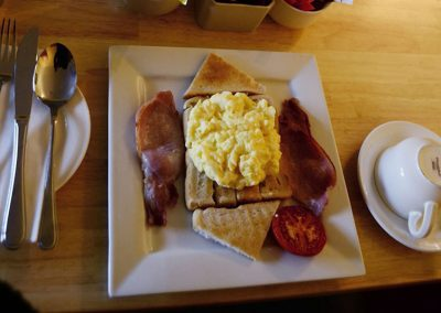 Station House Breakfast, Scrambled Eggs on Toast with Bacon